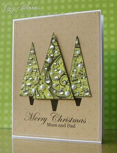 Lucy's Cards: Some digi cards... More Christmas tree bling from Hero Arts digi stamps.