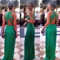 Elegant Green Long Chiffon Evening Dress Halter Cross Back - Products - 27DRESS.COM