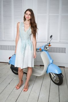 Felted dress blue dresspale pastel blue denim autumn от Baymut
