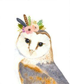 Watercolor owl Owl painting Woodland Nursery Animal by zuhalkanar Animal Paintings, Animal Drawings, Art Drawings, Drawing Animals, Owl Art, Bird Art, Bird Skull, Painting & Drawing, Watercolor Paintings