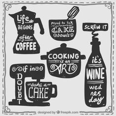 Kitchen stuff with lettering Free Vector