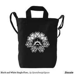 Black and White Single Flower Design Duck Bag Duck Canvas Bag