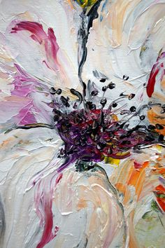 Oil Original Flower Painting Impasto Palette Knife by LUIZAVIZOLI, $125.00