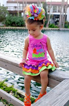 Girls Fishing With Daddy  Hot Pink Embroidery by BIndulgedBoutique, $40.00
