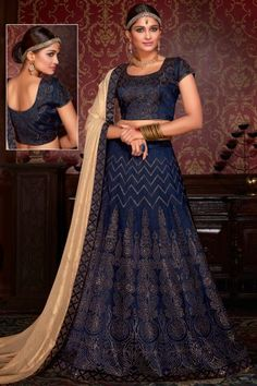 Sapphire Blue Silk Embroidered Wedding Lehenga Choli
