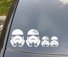 Stormtrooper Family Car Sticker- This etsy shop has TONS of customizable car stickers for the nerdy side. :)