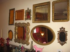 The young girl wanted a collection of mirrors above her chest of drawers