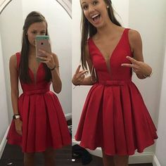 Crispy V-neck Sleeveless Short Red Satin Homecoming Dress with Bowknot