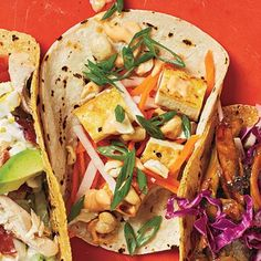 Pickled daikon radishes and carrots plus a spicy Sriracha sauce set these Asian-inspired tacos apart. Pan-sautéed cashews lend meaty...