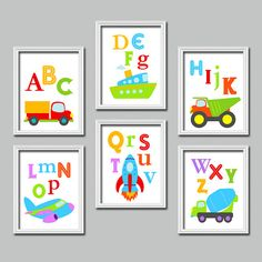 Bold Bright Colorful Alphabet Cars Transportation Artwork Set of 6 Prints Wall Decor Abstract Art Bedroom Picture Boy Child Crib Nursery