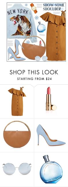 """""""One-shoulder-dress"""" by anne-irene ❤ liked on Polyvore featuring Sea, New York, WAIWAI, Gianvito Rossi, Matthew Williamson, Hermès, Tory Burch, denim, Pumps, dress and oneshoulder"""