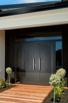 Entrance Ideas, House Entrance, Entrance Doors, Front Doors, Modern Tiny House, Tiny House Cabin, Modern Mansion, Modern Villa Design, Pull Handles