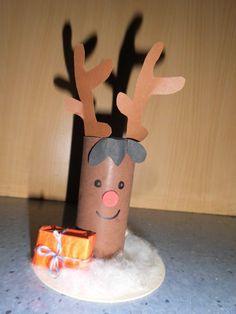 aus WC Rolle, beklebt, kann auch gestrichen werden, Boden ist ein Bierdeckel mit Watte, Geschenk eine Smarties Schachtel verpackt