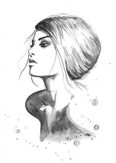 Print from Original Watercolor Fashion Illustration Modern Art Painting tittled Melodious Notes of Your Soul. $22.00, via Etsy.: