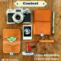 """It's time to participate in our contest with @birchandbike ! The winner can choose between these two beautiful  items: (1) The Explorer Notebook OR (2) The Minimalist Traveler Cardholder. This contest is open to anyone, in any country. Rules: (1) Follow: @birchandbike  (2) COMMENT BELOW: """"I love to travel because ___"""" (3) The most creative and inspiring answer can choose one of the items. (4) This contest ends on June 21st, 2016 and the winner will be announced on the following day."""