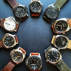 The #Panerai circle of trust. Starting from the top and moving clockwise. 360, 532, 587, 449, 448, 389, 390, 590, 602, 594. Pic by @bobbyhendarto #PaneraiCentral