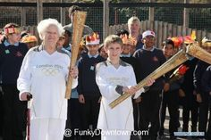 Oldest and youngest London Olympic torch bearers Dinah Gould 100 and Dominic John MacGowan 11