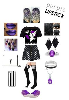 """""""purple lipstick contest entry"""" by odscene on Polyvore featuring Ted Baker, Burnetie, Roberto Demeglio, Yves Saint Laurent and Dana Buchman"""