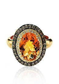 Le Vian® Cinnamon Citrine™, Vanilla Diamond®, and Chocolate Diamond® Ring in 14k Honey Gold™