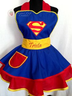 Super Women Apron,  Present Apron, Retro Apron by PersonalGCreation on Etsy https://www.etsy.com/listing/216449023/super-women-apron-present-apron-retro