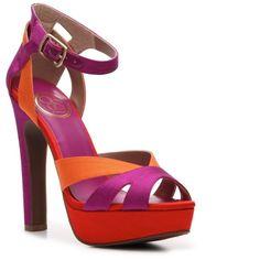 JS by Jessica Storsa Sandal - Red/Magenta/Orange (€55) found on Polyvore featuring shoes, sandals, heels, platform sandals, heeled sandals, ankle strap platform sandals, red high heel sandals and platform shoes