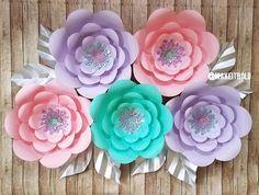 Paper Flower Backdrop, Unicorn Party, Big Paper Flowers, Nursery Paper Flowers, Bridal Shower Backdrop, Paper Flower Set, DIY Paper Flowers