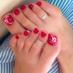 58 ideas for summer pedicure designs toenails toe rings Pretty Toe Nails, Cute Toe Nails, Pretty Toes, Toe Nail Art, Toe Nails Red, Beach Toe Nails, Red Toenails, Red Nail, Cute Toes