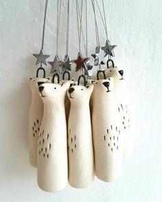 Porcelain Polar bear ornament - North Star- bear with star- Polar bear decoration-free UK shipping - dekoration Fox Decor, Bear Decor, Fox Ornaments, Hanging Ornaments, Dough Ornaments, Hanging Decorations, Homemade Christmas, Christmas Crafts, Christmas Ornaments