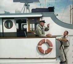 John Wayne on board his yacht,  the Wild Goose