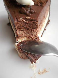 No Bake Triple Chocolate Layer Cheesecake