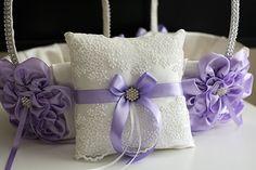 Amazon.com: Violet Ring Bearer Pillow \ Violet Flower Girl Basket \ Light Purple Bearer Pillow \ Lilac Wedding Basket \ Violet Wedding Pillow Basket Set: Handmade