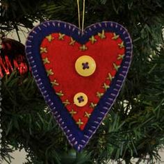 Heart, Felt Christmas Tree Ornament