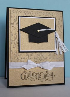 Nice photo tutorial on making the graduation cap from scrap papers for this handmade card. Use your favorite scroll embossing tool on gold cardstock for this elegant look. Black card base with several layers, a tassel and white bow finish your creation.