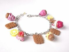 Cake Charm Bracelet  polymer clay mini food by InspirationsByNell, $13.00