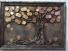 How For Making Your Landscape Search Excellent Trees Diy Canvas Art, Diy Wall Art, Acrylic Painting Canvas, Tree Wall Art, Coin Crafts, Diy Gifts To Make, Glue Art, Coin Art, Money Trees