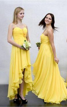 High-low Bridesmaid Dress,Chiffon Bridesmaid Dress,Yellow Bridesmaid Dress,Custom Made Bridesmaid Dress