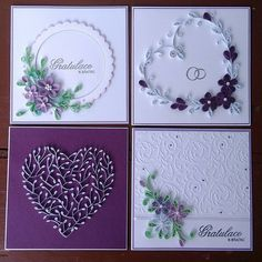 #quilling #weddingcard #white #purple #violet #handmade #quillingcard