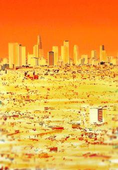 Orange LA in Yellow by Chris Langley   Artfinder