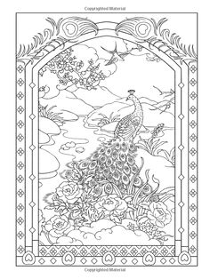 Creative Haven Peacock Designs Coloring Book / Artwork by Marty Noble Peacock Coloring Pages, Bird Coloring Pages, Adult Coloring Book Pages, Printable Coloring Pages, Coloring Sheets, Creative Haven Coloring Books, Free Adult Coloring, Peacock Design, Peacock Colors