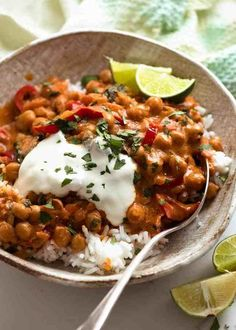 Brazilian Chickpea Curry in a bowl served over rice, ready to be eaten Chickpea Coconut Curry, Chickpea Curry, Chickpea Salad, Chickpea Recipes, Vegetarian Recipes, Vegetarian Protein, Vegetarian Dinners, Vegetable Recipes, Canning Crushed Tomatoes