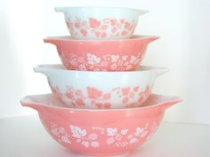 Vintage Pyrex Gooseberry Pink Cinderella Bowls  My mother has this set... I went out and bought my own too.   Makes me smile.