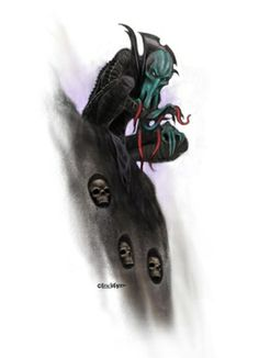 This stock art image by Eric Lofgren depicts an insidious mind flayer stalking its prey from atop a skull-infused perch in full colour. $10.  www.rpgnow.com/product_info.php?products_id=124757&affiliate_id=34429&src=Pinterest