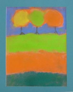 Chalk Pastel Fall Landscape. Three simple trees over three layers of ground. Great example that less is more.