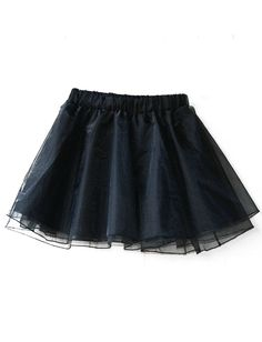 UNIFORM Black Elastic Waist Flare Organza Skirt US$22.71