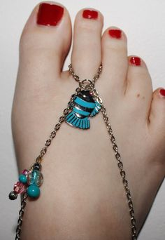 Blue Fish Barefoot Sandals by SpellbindingJewelry on Etsy, $7.00