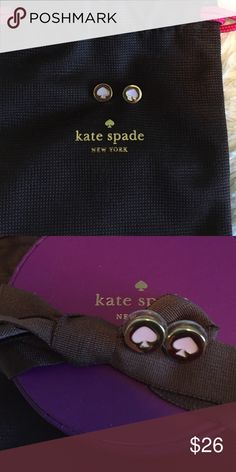 Kate Spade - Spade Studs in Posy Pink The Spade stud earrings. Like new condition. Beautiful posy pink spade logo. Gold. kate spade Jewelry Earrings