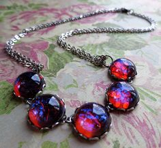 Fourth From the Sun: mexican opal dragon's breath glass stone and silver necklace (have)
