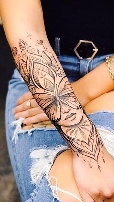 tattoos for women ~ tattoos . tattoos for women . tattoos for women small . tattoos for moms with kids . tattoos for guys . tattoos for women meaningful . tattoos for daughters . tattoos with kids names Floral Arm Tattoo, Floral Tattoo Design, Henna Arm Tattoo, Forearm Mandala Tattoo, Flower Design Tattoos, Man Arm Tattoo, Flower Arm Tattoos, Mandala Lion Tattoo, Woman Face Tattoo