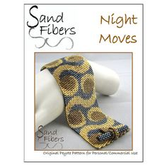 Peyote Pattern  Night Moves Peyote Cuff / Bracelet   by SandFibers, $10.00