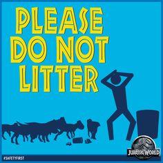 Bildergebnis für jurassic world please do not litter